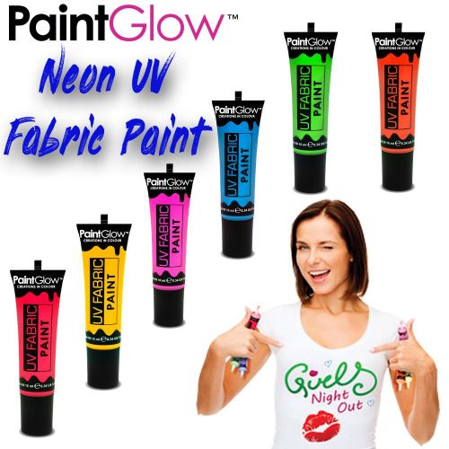 Neon UV Fabric Paint - Complete Set of 6